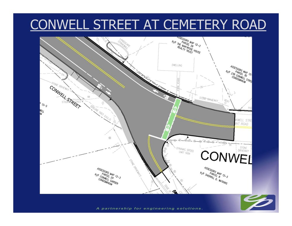 Alternative 1 includes a green bicycle crossing to make it clear to expect people on bikes and connect Cemetery Road to the new bike lanes on Conwell Street.