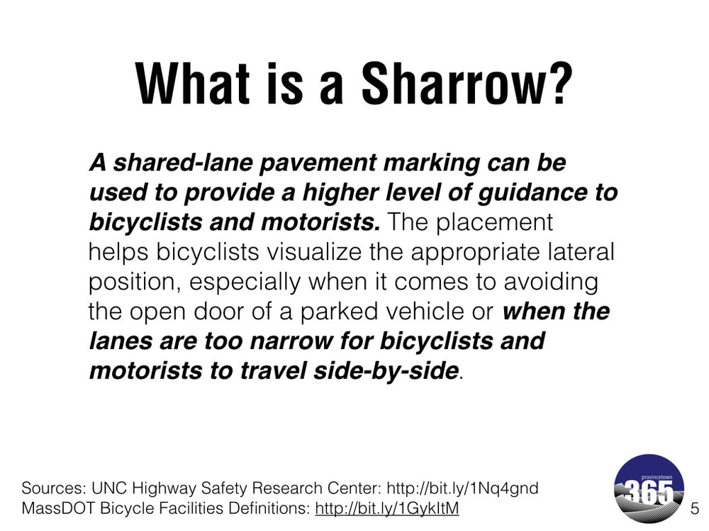 Provincetown 365 's explanation of sharrows