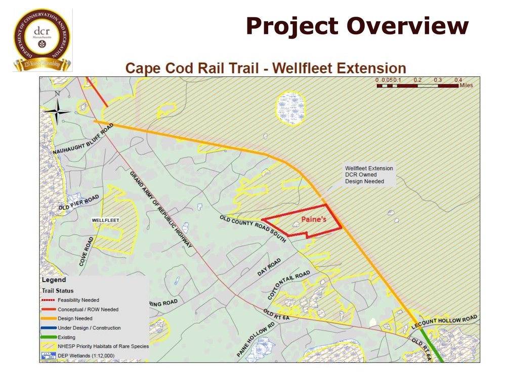 The proposed Wellfleet rail trail extension along the abandoned rail bed (shown in orange)