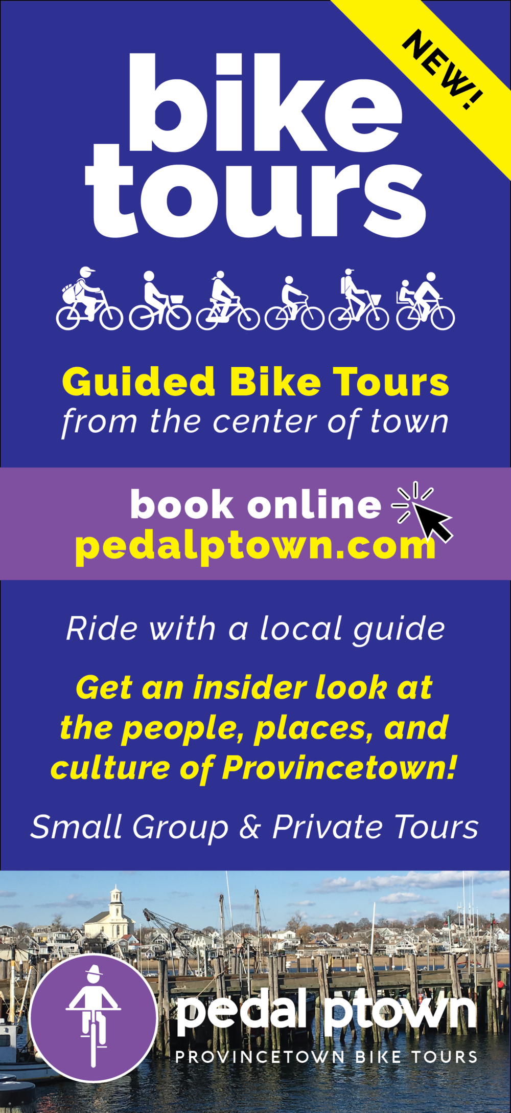 Mock-up of the front of a Pedal Ptown rack card.