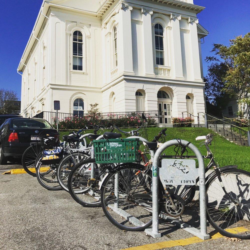 The Provincetown Public Library's seasonal on-street bike rack.