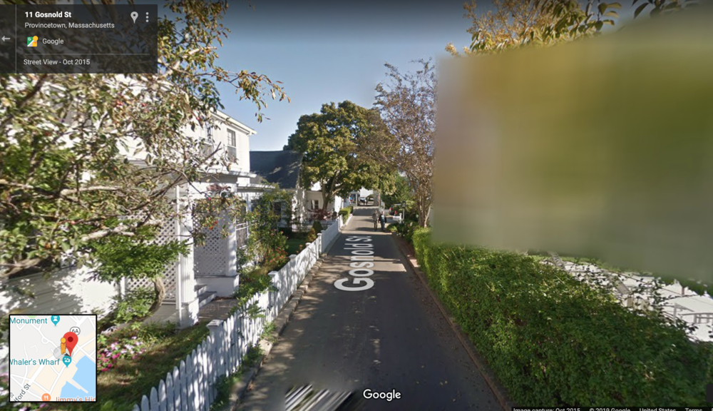 Gosnold Street in Provincetown on Google Streetview (the oddly blurred-out house is 6 Gosnold Street). Gosnold is signed as one-way for motor vechicles heading toward the viewer.