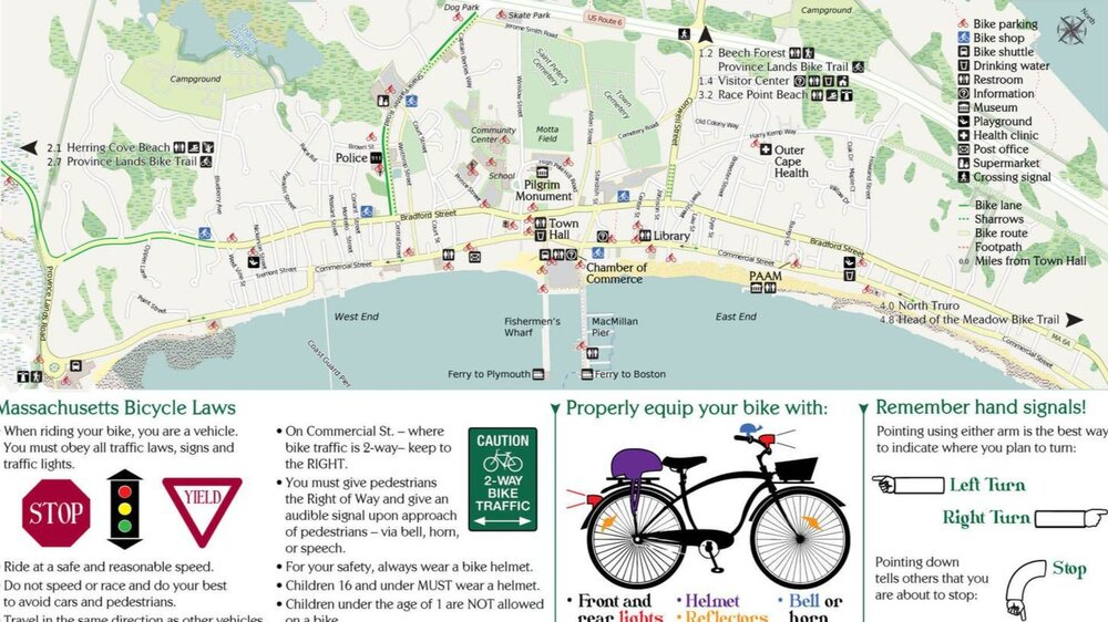Provincetown Bicycle Map & Safety Guide (from the inside of the brochure)