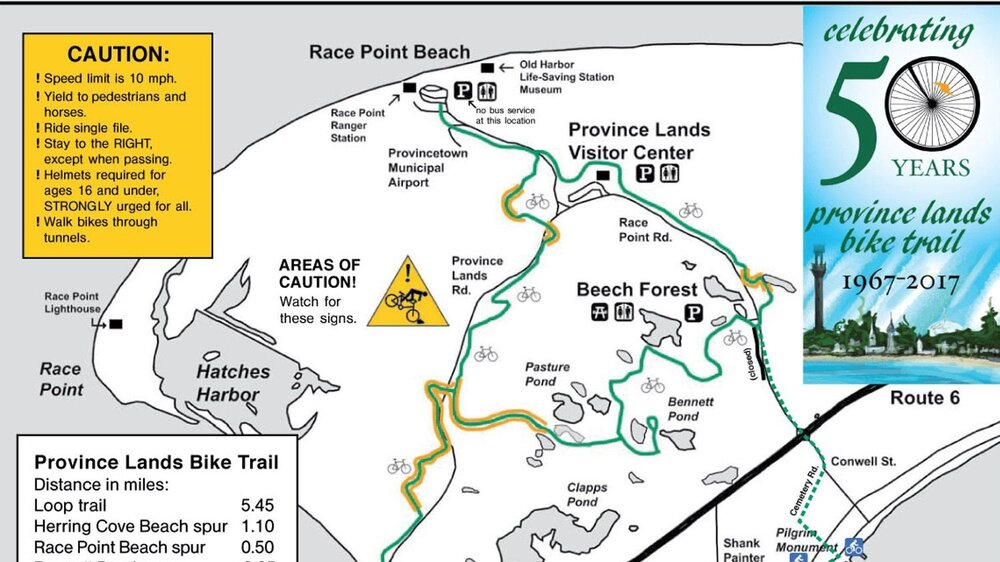 Map of the Province Lands Bike Trail in the Cape Cod National Seashore (from the Provincetown Bicycle Committee brochure)
