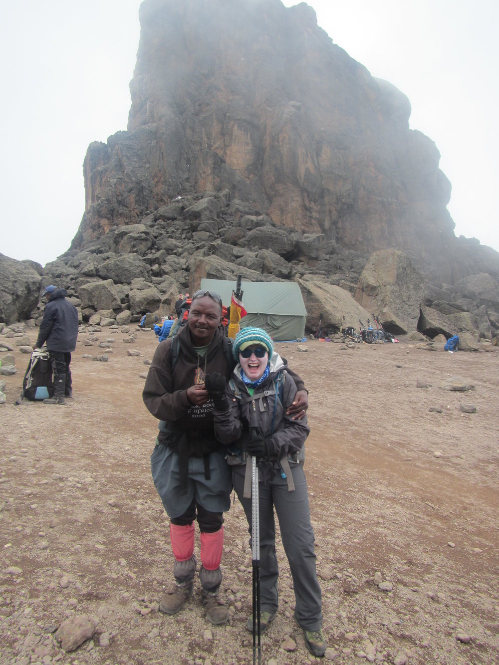 Hiking Mount Kilimanjaro: Day 3 August and I at the Lava Tower