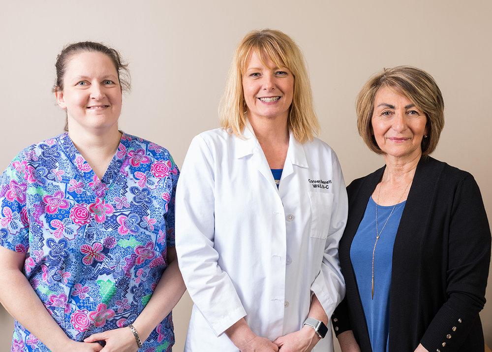Jennifer Krimaschewicz, Cortney Bennett, and Rosanna Boveington