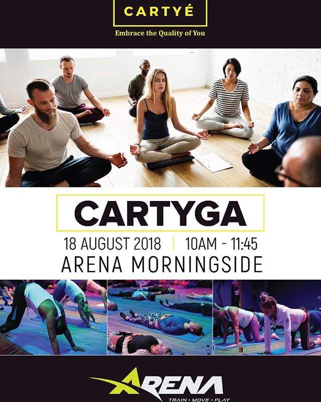 We introduce you to CARTYGA🌻 Price: R160 - proceeds going to @abeautifulmindnpo Date: 18 August 2018  Time: 10:00am - 11:45am Location: @arenawellnesssa MORNINGSIDE  BOOK YOUR SPOT! Space is limited