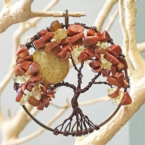 Moon Tree of Life Pendant - Celebrate Autumn by creating an Autumn Tree pendant! In this class, you will learn to create your own tree pendant by bending and twisting wire. Different types of stone beads will be available to pick from, that will be added to the wire to create the leaves of your tree, as well as flat coin shaped beads to add a full moon. Each type of stone has it's own meaning and purpose. Pick one or more types that speak to you. A stone guide will be provided. Ages: AdultAll supplies are included. You will leave the class with a completed wire wrapped tree pendant.Instructor: Christina DavisWorkshop Fee: $ 45, minimum 5, maximum 12