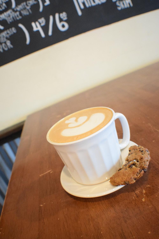 Caffèology's Buffalo Truffle Espresso with Breadhive sea salt chocolate chip caramel cookie.