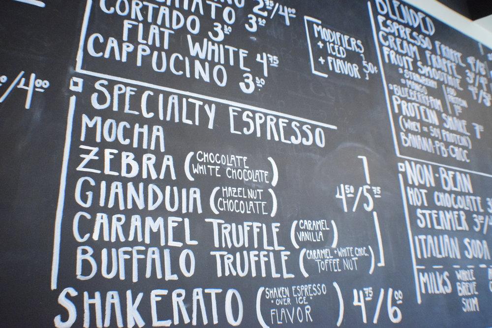 Caffeology's menu.
