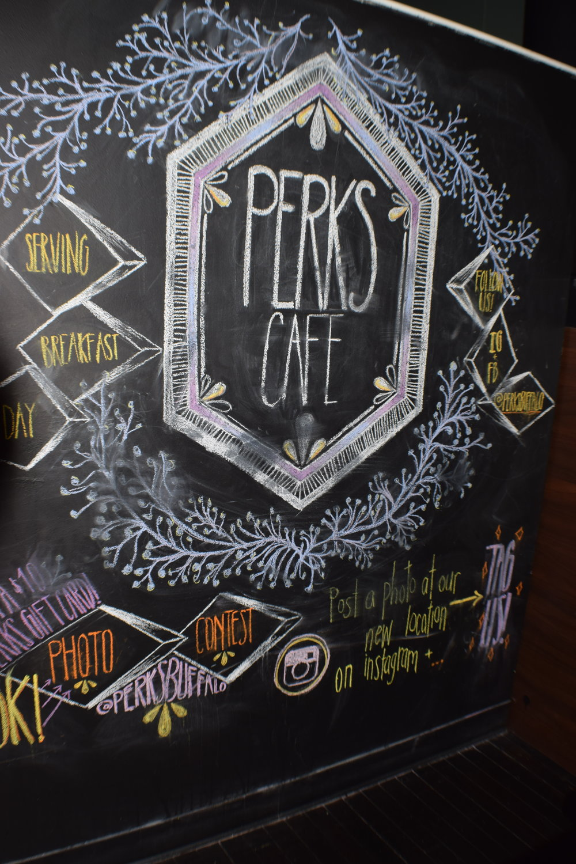 Chalkboard art signage at Perks Café.