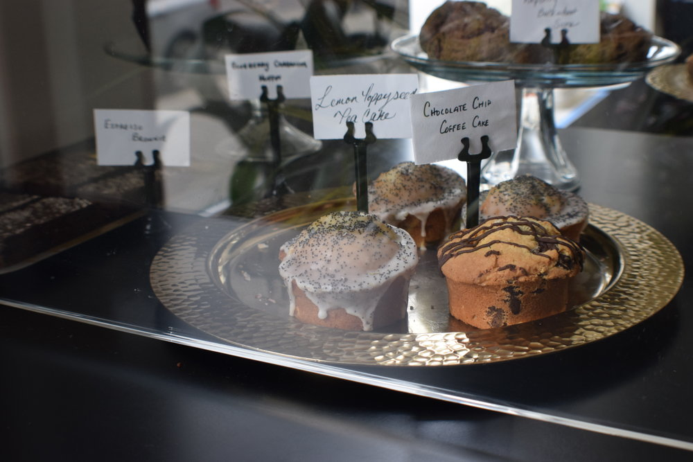 Tasty treats in Public Expresso's pastry case.