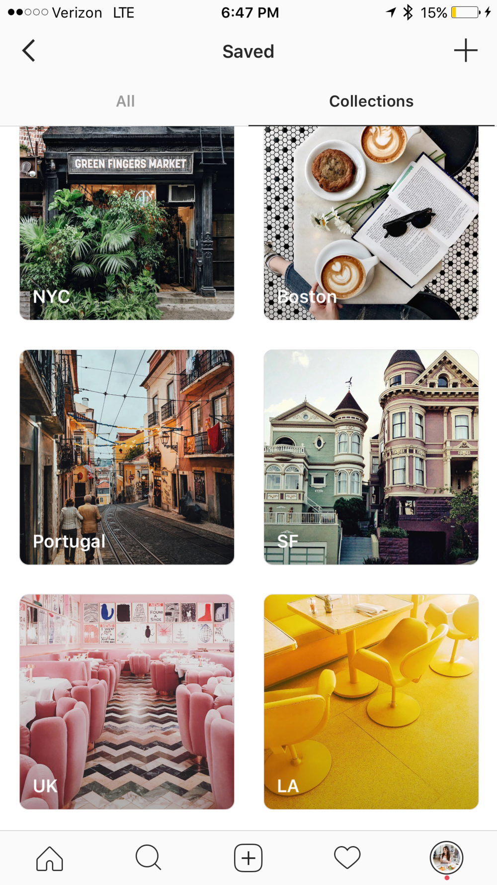 INSTAGRAM COLLECTIONS - Whenever I see something on IG that I want to taste, see, or stay at, I archive it in a collection by city.