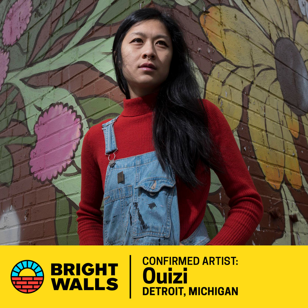 Ouizi - Louise Jones (aka 0uizi) is a mixed media artist residing in Detroit, Michigan. Her large scale floral murals can be seen all over the country including her feature mural on the exterior of the Grand Rapids Ballet which she completed during ArtPrize 2017.0uizi's studio work has been shown in galleries all over the country as well as featured at live events hosted by Lululemon and Shinola.0uizi was recently selected as the artist in residence for the Movement Electronic Music Festival in Detroit.