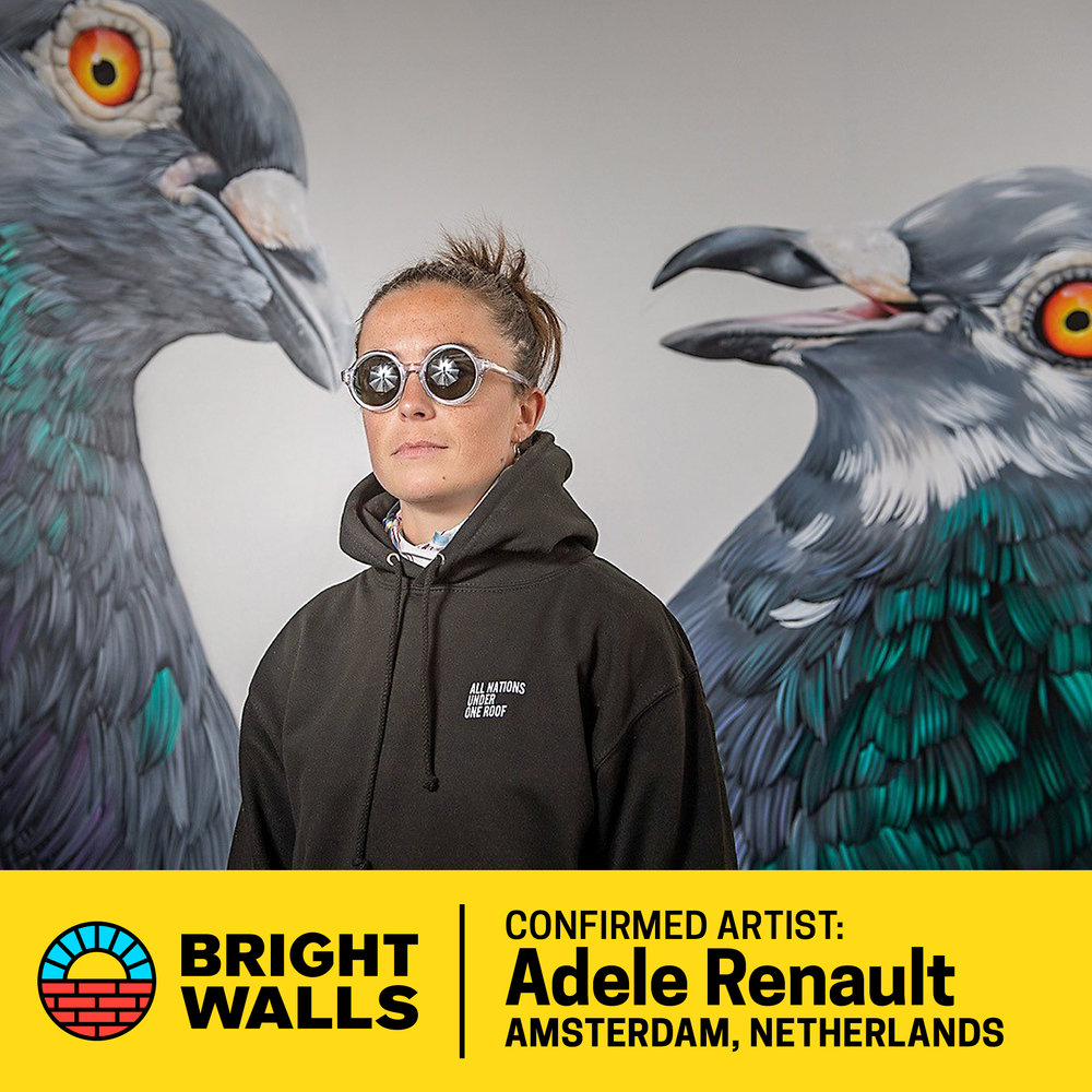 Adele Renault - Adele Renault paints realistic portraits of pigeons and people. Her subject matter may live in the gutter or in an ivory tower and the size of her work ranges from small canvas to giant mural.Renault grew up in a musical family on a farm in the Belgian Ardennes. At age 14 she traveled abroad alone; lived in Venezuela on an exchange, then two years in Brighton, England. She studied and practiced visual arts, from classical oil painting to modern-day spray can graffiti. In 2010 she graduated from the Academie Royale des Beaux Arts in Brussels with a degree in Graphic Design.She has done work for Facebook, Staple Pigeon, Tretorn and Rock Werchter Festival.