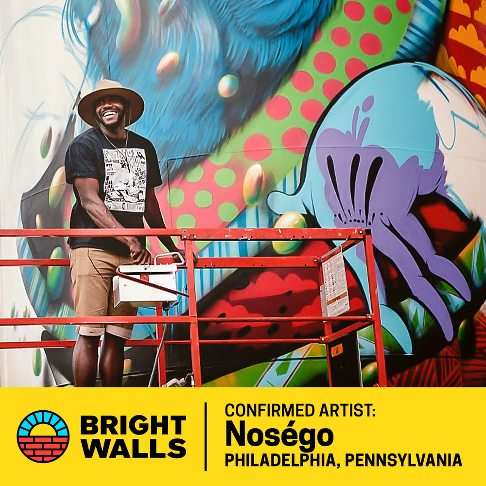 NoségoPhiladelphia, Pennsylvania - Yis Goodwin, better known as Noségo, is a Philadelphia-based artist with a passion for illustration and media arts.He mixes fine art with a contemporary style to deliver highly energetic work. His designs feature an assemblage of patterns, vibrant colors and characters derived from his imagination and his surrounding environment.He has exhbitied his work in galleries all over the world and has participated in numerous mural festivals.