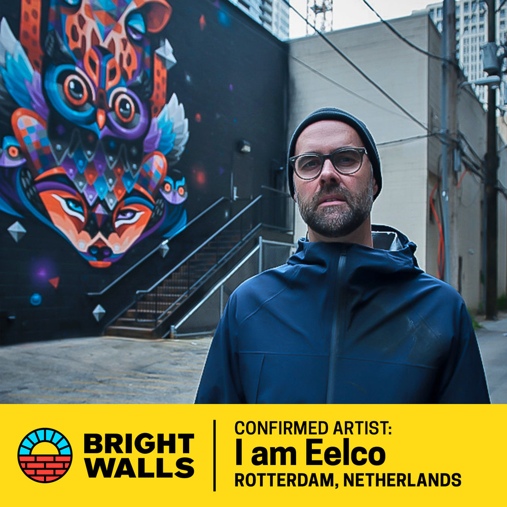 I am Eelco - Eelco van den Berg (I am Eelco) is a painter, muralist and illustrator based in Rotterdam, The Netherlands and New York. The Dutch multi-disciplinary street artist creates psychedelic landscapes with the unique color palette he developed mostly on the streets of New York.He was mesmerized by hip hop & graffiti during elementary school, and is still greatly influence by it. His work is mostly hand-drawn & stands out with its strong use of color, motives, outlines & decorative illustrative elements in a surrealistic pop art style.Honored to be named one of NYC's Top 10 Street Artists, Eelco is not just living the dream but painting it as well. His bold award-winning graphic works have been commissioned by numerous major brands. He is a guest lecturer of illustration at the Willem de Kooning Academy.