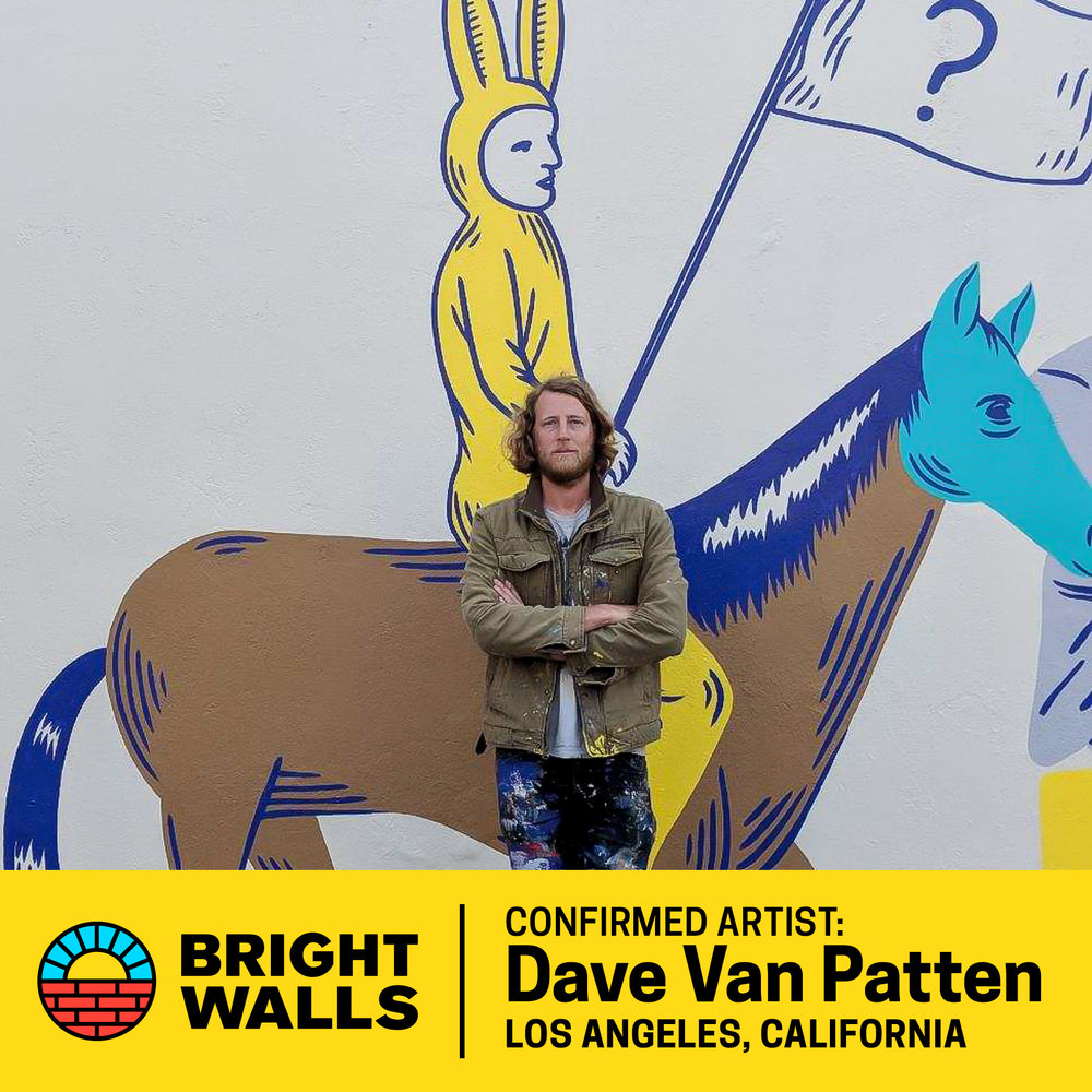 """Dave Van PattenLos Angeles, California - Dave Van Patten is a Los Angeles based artist whose work is centered between dreamlike absurdism and psychedelic surrealism. His trademark childlike simplicity details stories from ethical fables to disturbingly dark humor.Dave has self-published several graphic novel zines and twisted """"children's books for grown ups,"""" and though his focus is on illustration, he uses a combination of paper cut outs, acrylic paints and ink to tell his stories.His work has been shown in Juxtapoz Magazine, Intentional Quarterly, Mt. Hope, L.A. Record Magazine, and various L.A. based art magazines. Dave was also featured in 2016 and 2017 as an artist in world-renowned mural organization, POW!WOW! Currently, Dave is adapting a short story from Arthur Bradford into a full-length graphic novel."""