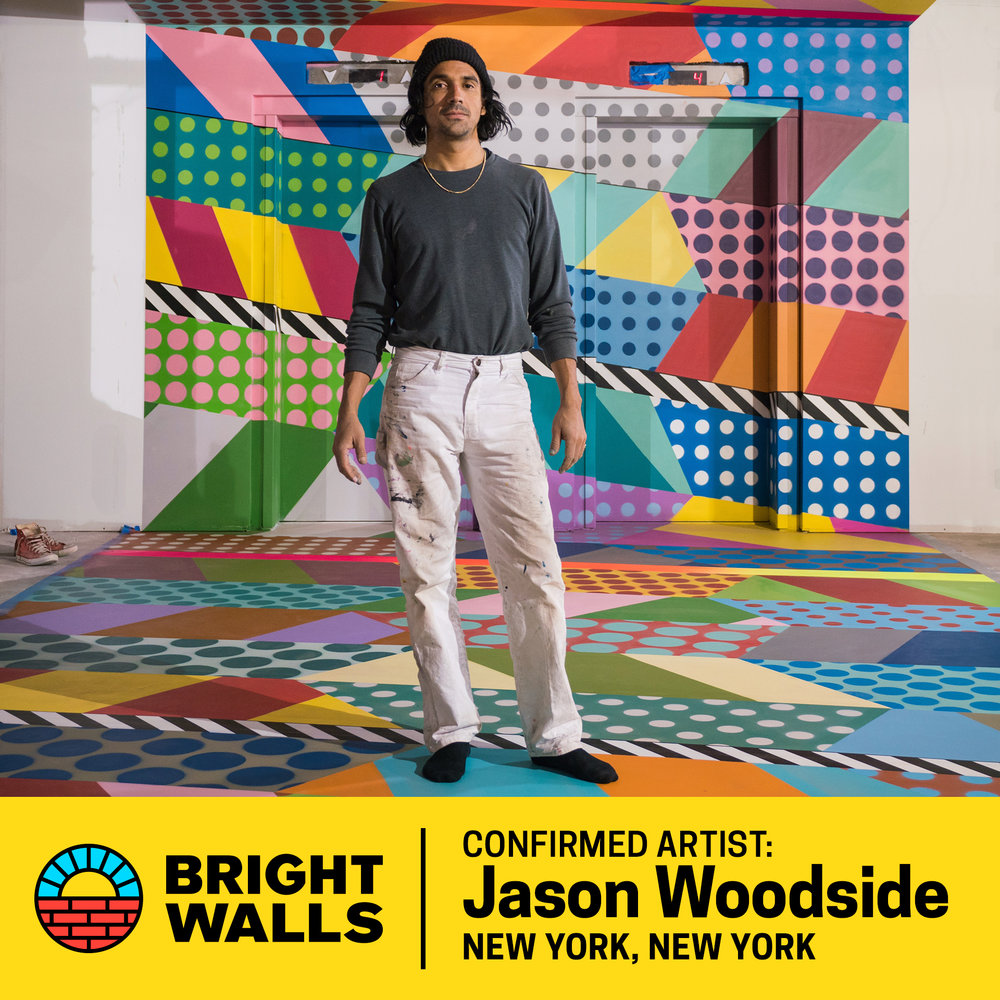 Jason Woodside - Jason Woodside, originally from Miami, came to New York City following his dream of pursuing a career in the movie industry; but his time at the NYC School of Visual Arts made him aware of his passion for painting. Realizing that secondary education wasn't for him, Woodside dropped out of school and discovered his talent for creating street art. He began covering NYC with his trademark mix of colors and patterns, becoming one of the key personalities of the post-graffiti movement. Woodside's work is now featured throughout the world in New York City, Los Angeles, Sydney, and Paris. His striking color combinations, bold geometric shapes, and vibrant hypnotizing patterns are largely inspired by textiles and clothing. More recently he has transformed some of his pieces into outfits through collaborations with brands such as Adidas and OBEY.
