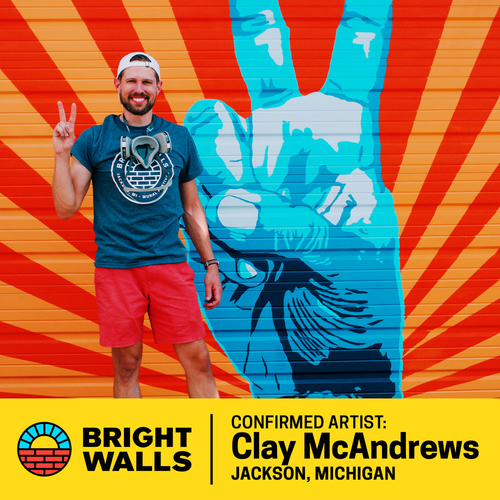 "Clay McAndrews - Clay McAndrews was born and raised in Jackson, Michigan. His favorite class in high school was art, which he excelled in. He was voted the most ""Artsy Fartsy"" of his graduating class.He studied graphic design and advertising at Central Michigan University. His passion is branding and identity. His style of work is clean and simple with complimentary color palettes.This mural was Clay's first, and he loved doing it."