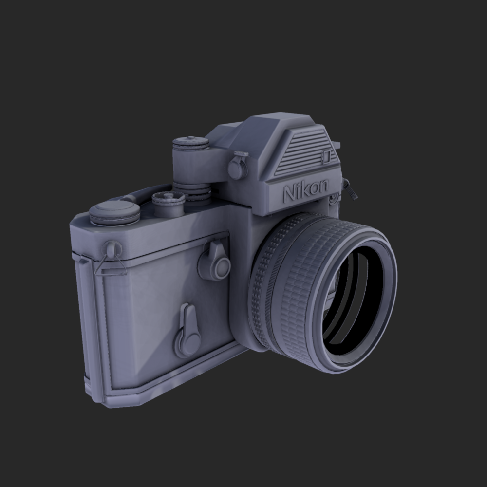 So I modeled a Nikon F2 in Maya, my next step is to texture it using the Quixel Suite. Above is a render in the Quixel suite using the various maps.