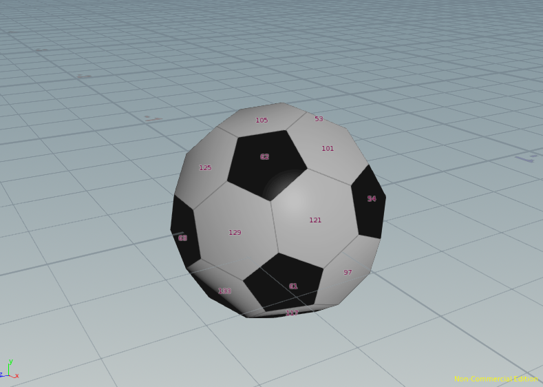 I wanted to use the face count to extrude and subdivide each face.  I created a ray - sphere to choose the size of my football.