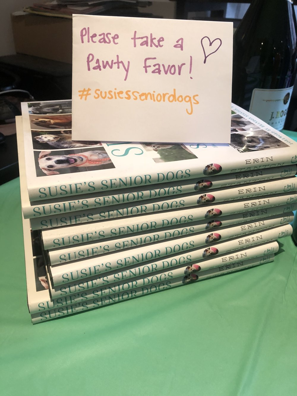 We gave out Susie's Senior Dog books as pawty favors! #susiesseniordogs