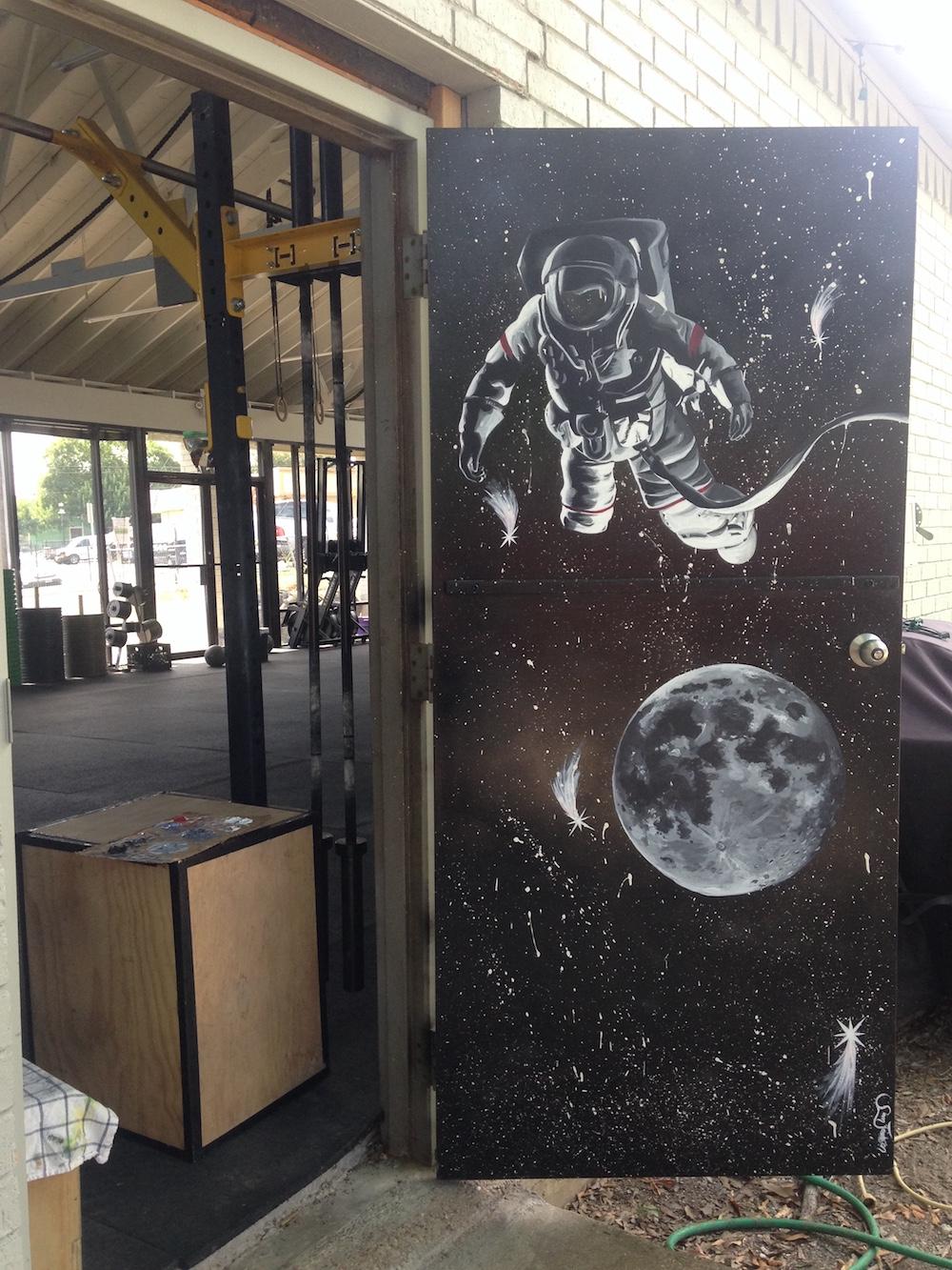 Space Man . Acrylic on Metal Fire Door. Summer 2017