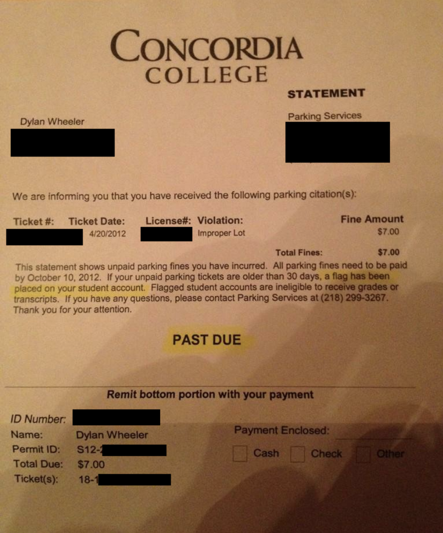 A picture of a parking fine from Wheelers first college.