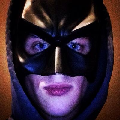 Wheeler wearing a batman mask.