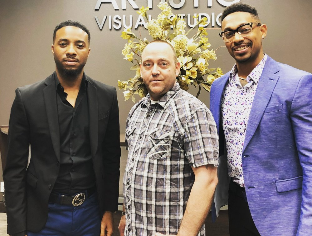 From Left to Right:  JBthaGREAT, Doug, and Bobby Billions.  These 2 Tech Entrepreneurs are the Co-founders of Quantum Prestige. Doug is the Owner of Artistic Visual Studios in Dallas, a Multi-Million Dollar Production Studio & SMTV - a LIVE Streaming Platform that is known for streaming major concerts, festivals, and huge events.