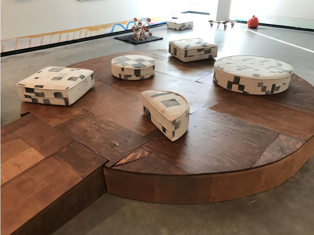 Round Stage and Cushions for The Portland Museum of Art.