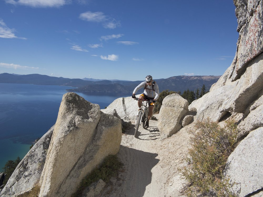 The iconic Flume Trail offers sweeping—if dizzying—views over Lake Tahoe.