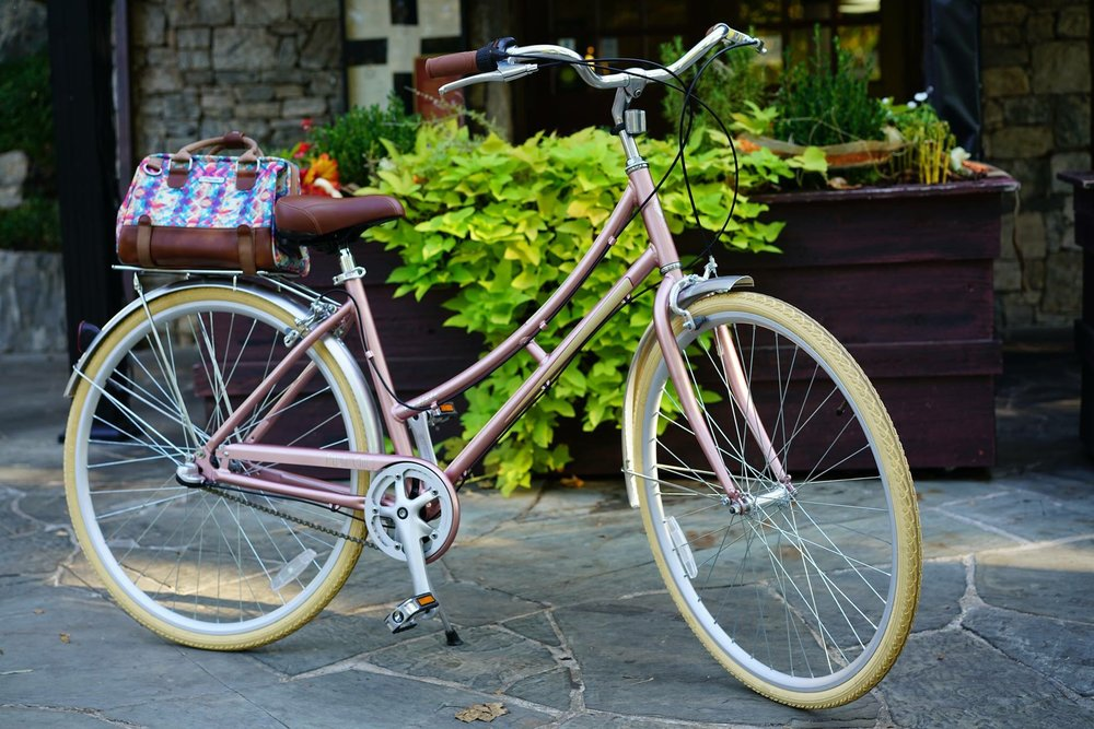 "The Radiate ($357), with its matte dusty rose paint job, cream tires and leather accents, is the ""must-have fashion bike"" of the Pedal Chic line."