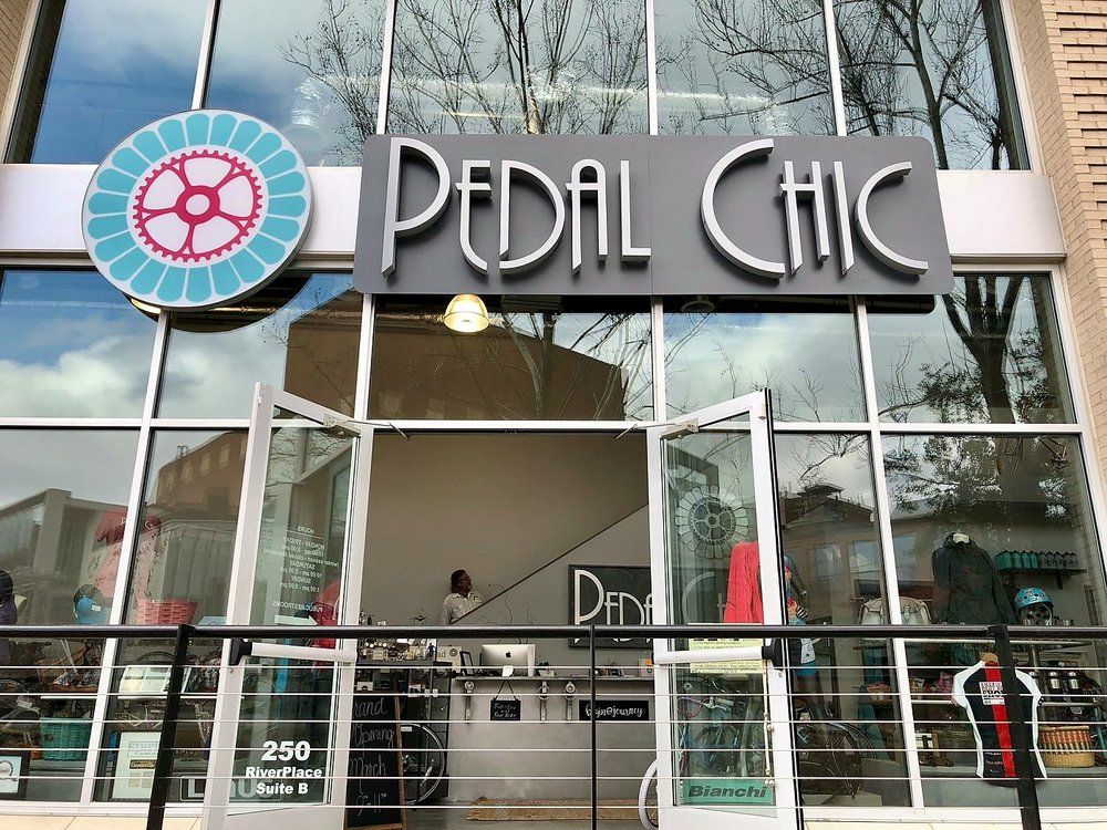In February, Pedal Chic moved to a 2,000sf location fronting the Reedy River, right alongside the Swamp Rabbit Trail, a 20-plus-mile multi-use path.