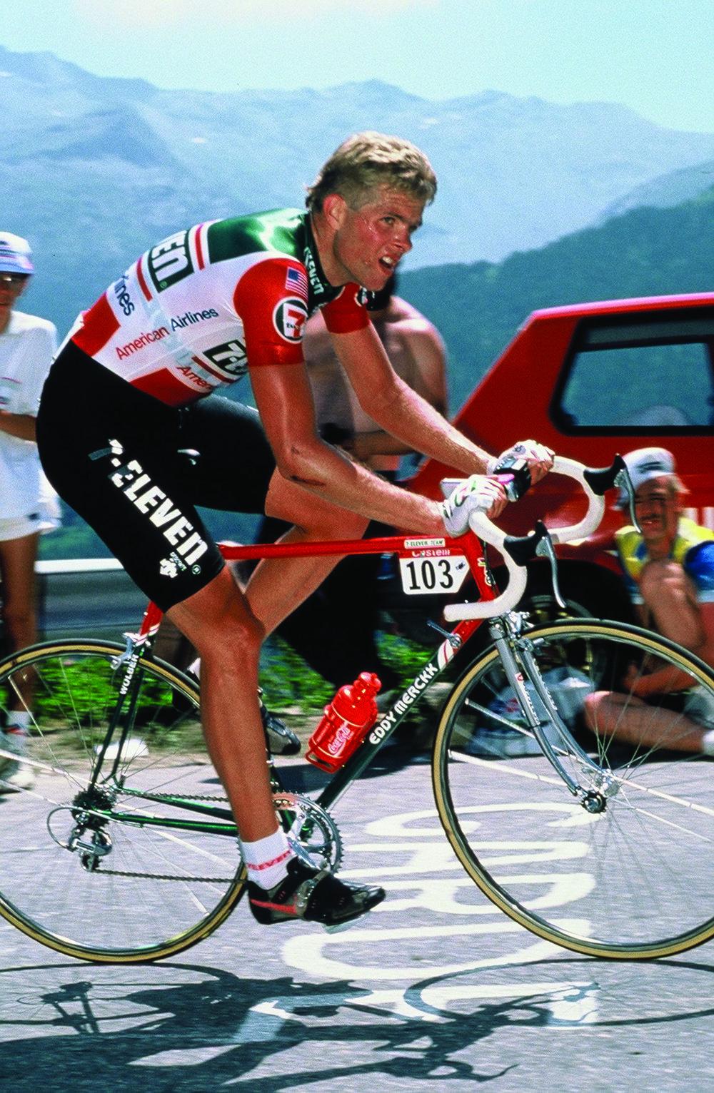 Ron Kiefel climbs Alpe d'Huez during the 1986 Tour de France.
