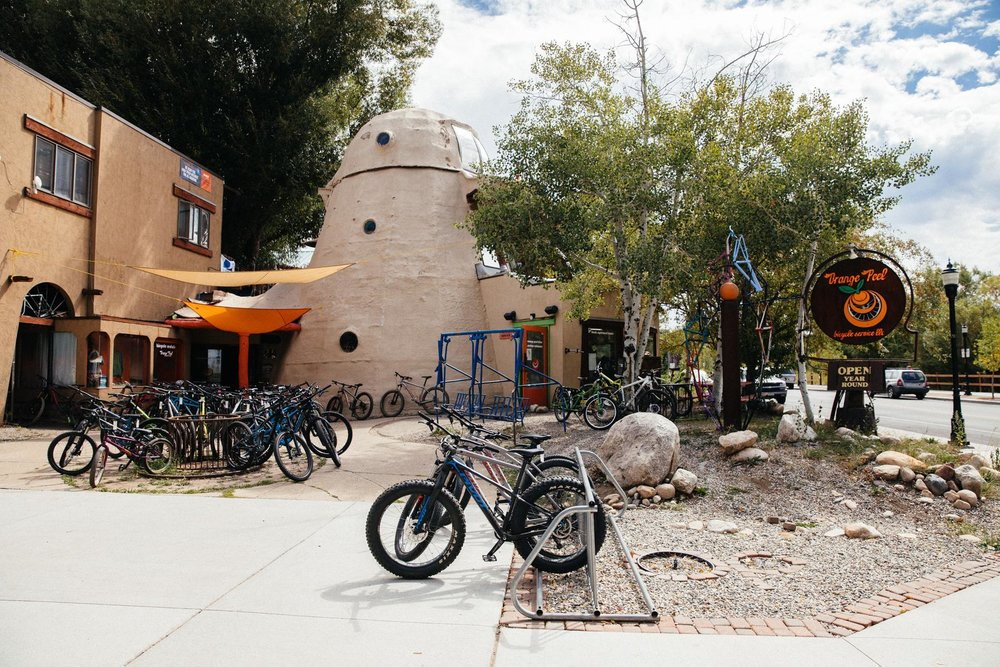 """It was Moots founder Kent Eriksen (no surprise there) who first turned a sawdust incinerator and a ski-lift tower into a bike shop. """"Iconic"""" is an over-used word, but there's no chance of confusing this store with any other. Locals just call it """"the Cone."""""""