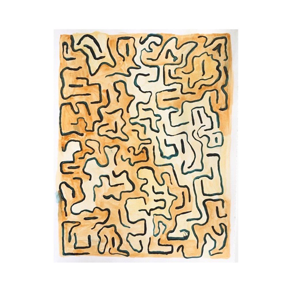 "Ants |  acrylic on bristol paper | 9.5"" x 12"" | 2018"