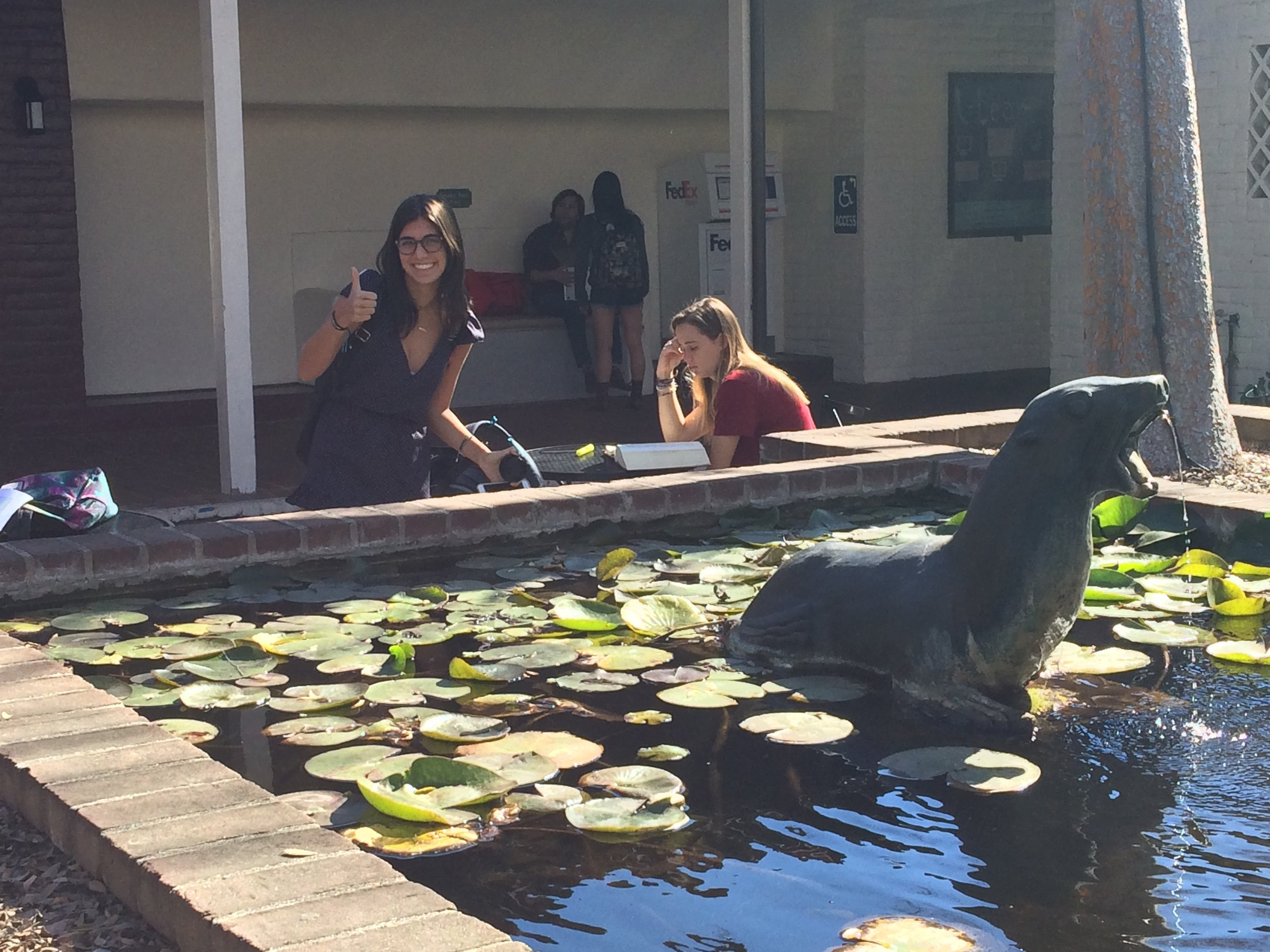 Annabelle Sadoff (SC '19) and the Seal at Seal Court.