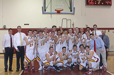 Stags Basketball after defeating Pomona-Pitzer for their NCAA Tourney Bid