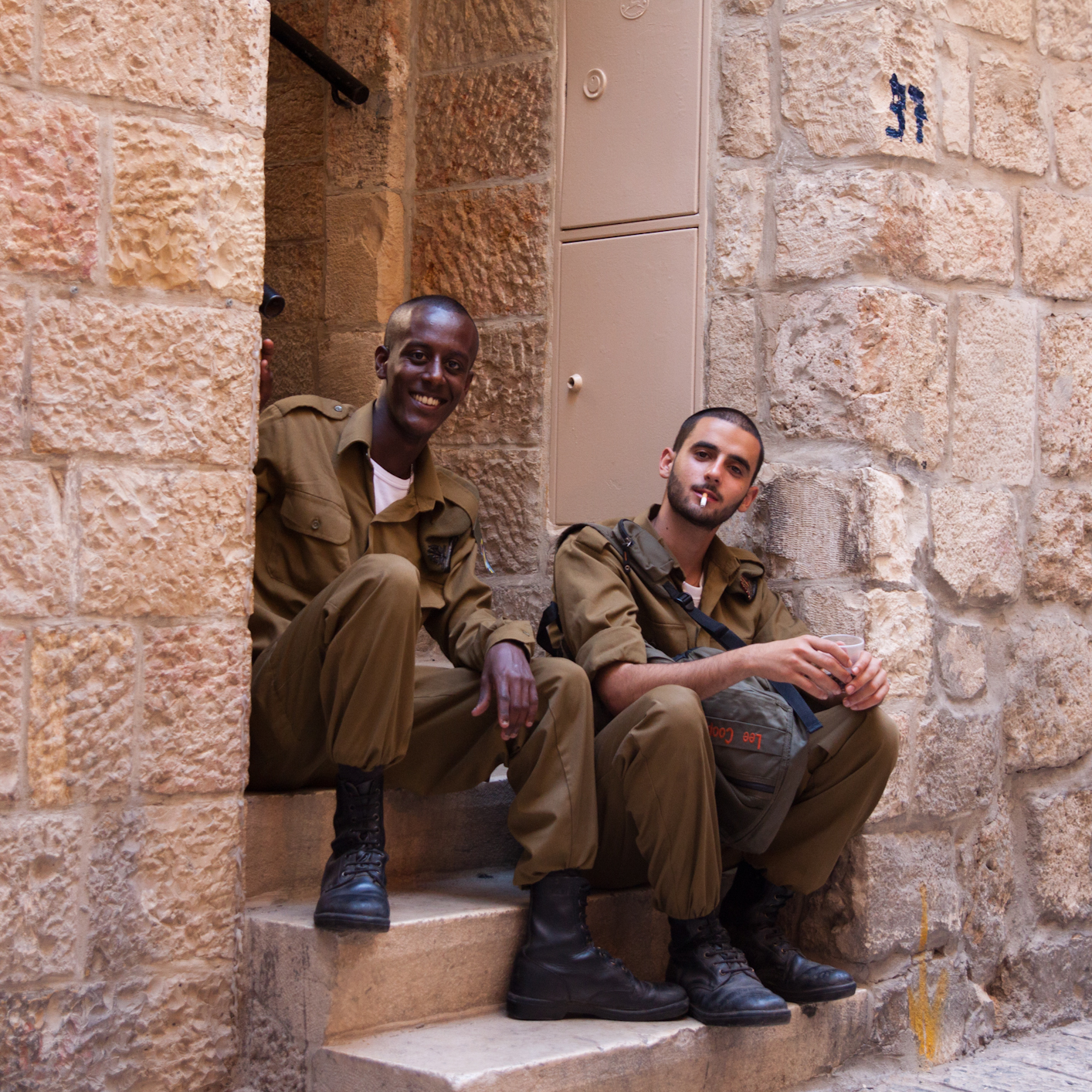 Two Israeli Defense Force members asked for a picture