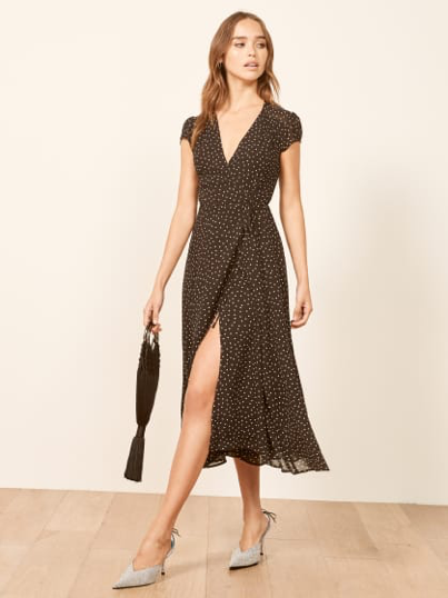 """Reformation - ($$-$$$$) All of Reformation's pieces are made from """"super sustainable materials, rescued dead-stock fabrics and repurposed vintage clothing."""" From recycled cashmere sweaters to dresses with sleek silhouettes, Reformation will have something stylish to carry you through the holidays and beyond."""