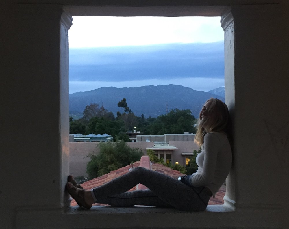Malea Martin'19 has lived at Scripps since sophomore year. Pictured here at Browning tower at Scripps.