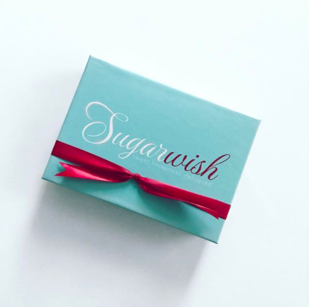 Blue SugarWish Candy Duet Box with a Red Ribbon