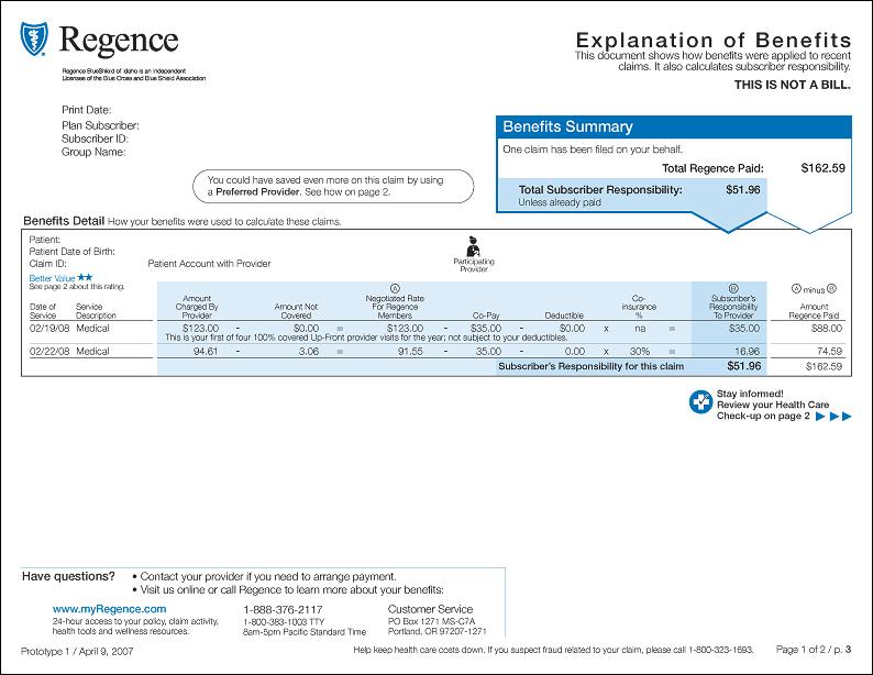Sample EOB Regence
