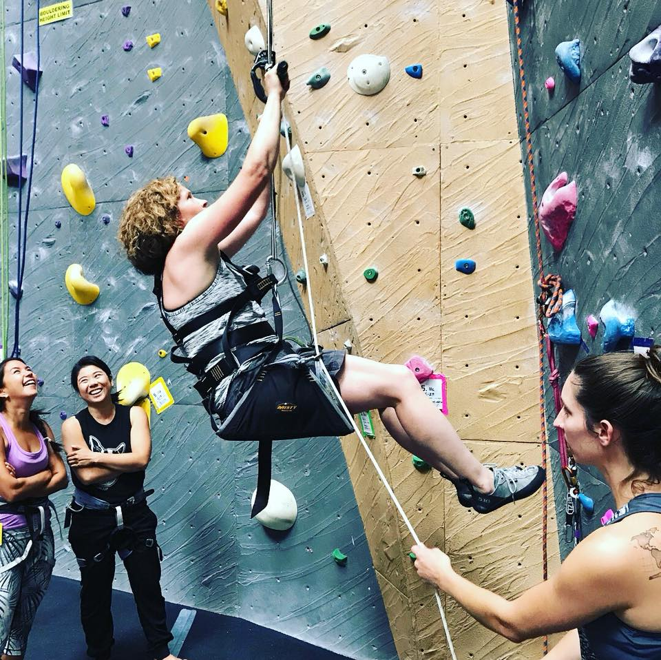 Mandie Helps Elevate - Saturday July 30th Mandie was learning what it's like to climb with a disability before taking athletes Sunday. Mandie (in easy seat), Trevor, and #LWPTalum Grant climbing with one leg tied up to mimic an amputation. Much harder than it looks. #adaptiveathlete #adaptiveclimbing #rockclimbing#physicaltherapist