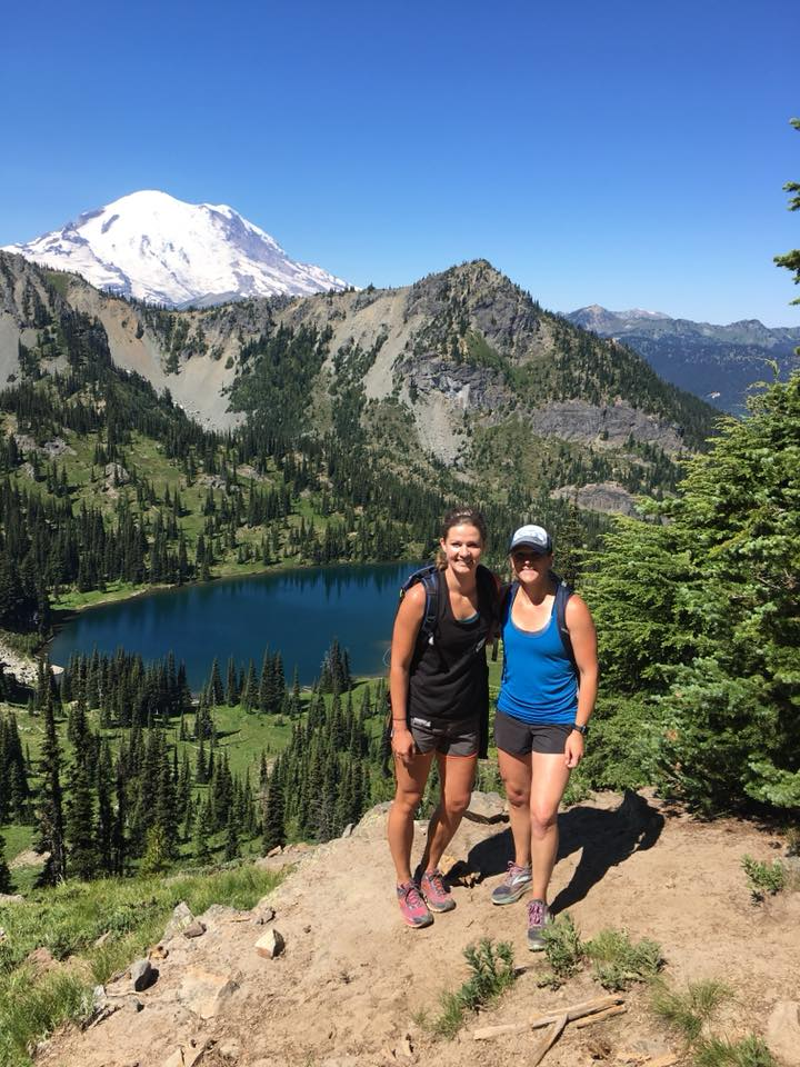Heidi & Caitlin at Crystal Lake - Great pic from Heidi and Caitlin's hike this weekend at #CrystalLake peak trail. https://www.lakewashingtonpt.com/our-downtown-kirkland-team/ #hiking #trails #pacificnorthwest