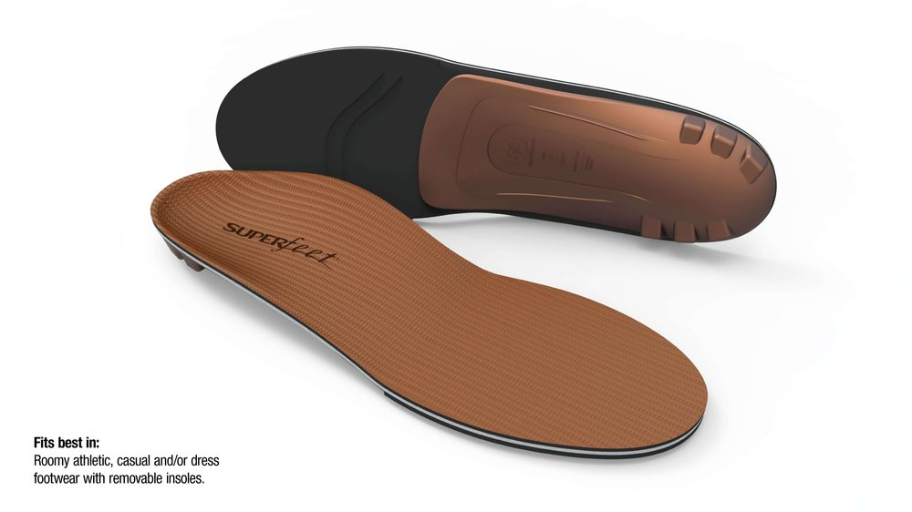 Superfeet Copper - DEEP, NARROW HEEL CUPHelps support the foot during high-impact activities and long distancesDURABLE CONSTRUCTIONSuperfeet insoles keep their shape, delivering reliable support and comfort for up to 12 months or 500 miles, whichever comes firstSUPERFEET® SHAPEThe low-profile shape helps stabilize and support the foot, which can help reduce stress on feet, ankles and kneesMEMORY FOAMPressure-sensitive foam shapes to your foot for personalized comfortORGANIC, ODOR-CONTROL COATINGAll natural coating that eliminates odor-causing bacteriaREINFORCED STABILIZER CAPThe base of the insole that supports the rear foot and provides structure and stability to the foam layer