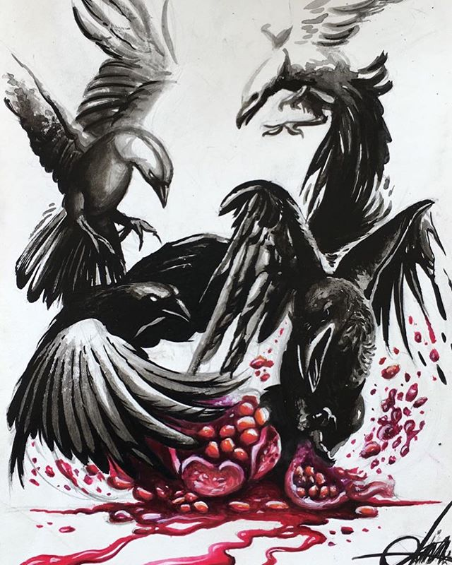 Carrion An illustration depicting four Carrion Crows feasting on a succulent pomergranate fruit. The illustration also plays on the carnivorous mannerism of these birds, by suggesting both blood and fruit juice through the liquid flowing at the bottom of the image. - #design #visualart #art #illustration #black #dichromatic #fruits #red #sumie #painting #handmade #nature