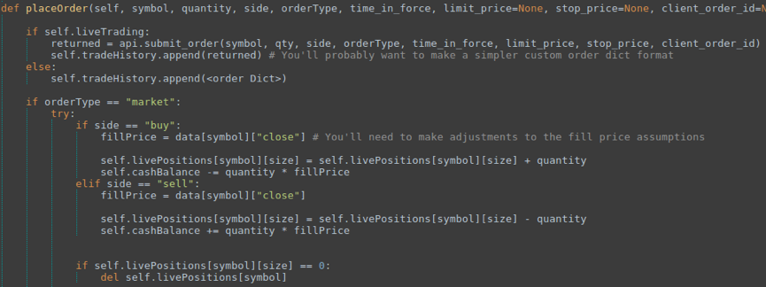 (Code Snippet of an order handling function as part of a position handler — full script at end of article)